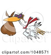 Royalty Free RF Clip Art Illustration Of A Cartoon Stork Carrying A Bundle by toonaday