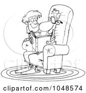 Royalty Free RF Clip Art Illustration Of A Cartoon Black And White Outline Design Of A Father Reading A Story To His Son