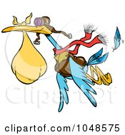 Royalty Free RF Clip Art Illustration Of A Cartoon Delivery Stork by toonaday