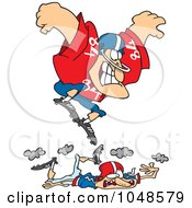 Royalty-Free (RF) Clip Art Illustration of a Cartoon Huge Footballer Stomping On A Smaller Guy by toonaday