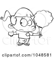 Royalty Free RF Clip Art Illustration Of A Cartoon Black And White Outline Design Of A Sticky Girl Eating Cotton Candy by toonaday