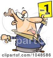 Royalty Free RF Clip Art Illustration Of A Cartoon Judge Holding Up A Negative Vote by toonaday