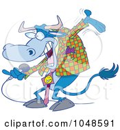 Royalty Free RF Clip Art Illustration Of A Cartoon Bull Host by toonaday