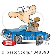 Royalty Free RF Clip Art Illustration Of A Cartoon Senior Man Running Over A Stop Sign by toonaday