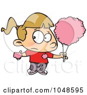 Royalty Free RF Clip Art Illustration Of A Cartoon Sticky Girl Eating Cotton Candy by toonaday