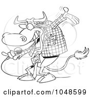 Royalty Free RF Clip Art Illustration Of A Cartoon Black And White Outline Design Of A Bull Host by toonaday