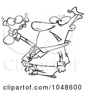 Royalty Free RF Clip Art Illustration Of A Cartoon Black And White Outline Design Of A Businessman Squeezing A Stress Toy