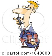 Royalty Free RF Clip Art Illustration Of A Cartoon Man Using Speaker Phone On His Cell