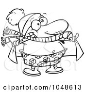 Royalty Free RF Clip Art Illustration Of A Cartoon Black And White Outline Design Of A Winter Guy Soaking Up The Sunshine