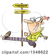 Royalty Free RF Clip Art Illustration Of A Cartoon Man Striding Into Tomorrow