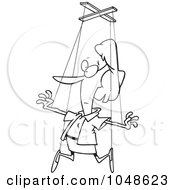 Royalty Free RF Clip Art Illustration Of A Cartoon Black And White Outline Design Of A Woman On Puppet Strings