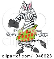 Royalty Free RF Clip Art Illustration Of A Cartoon Zebra Wearing A Spotted Shirt by toonaday
