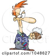 Royalty Free RF Clip Art Illustration Of A Cartoon Businessman With Beer by toonaday