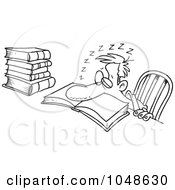 Royalty Free RF Clip Art Illustration Of A Cartoon Black And White Outline Design Of A Tired Man Falling Asleep While Studying