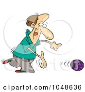 Royalty Free RF Clip Art Illustration Of A Cartoon Bowler Releasing A Ball by toonaday