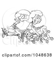 Cartoon Black And White Outline Design Of Mothers Running With Strollers