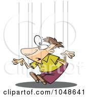 Royalty Free RF Clip Art Illustration Of A Cartoon Guy On Puppet Strings