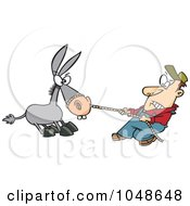 Royalty Free RF Clip Art Illustration Of A Cartoon Farmer Pulling A Stubborn Mule by toonaday