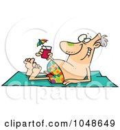 Royalty Free RF Clip Art Illustration Of A Cartoon Man Sun Bathing With A Cocktail