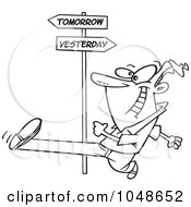 Royalty Free RF Clip Art Illustration Of A Cartoon Black And White Outline Design Of A Man Striding Into Tomorrow