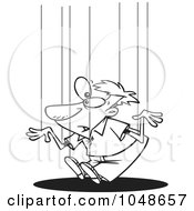 Royalty Free RF Clip Art Illustration Of A Cartoon Black And White Outline Design Of A Guy On Puppet Strings