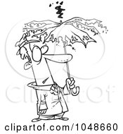 Cartoon Black And White Outline Design Of A Man Under A Struck Umbrella