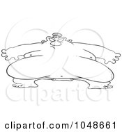 Royalty Free RF Clip Art Illustration Of A Cartoon Black And White Outline Design Of A Huge Sumo Wrestler by toonaday