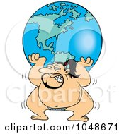 Royalty Free RF Clip Art Illustration Of A Cartoon Sumo Wrestler Lifting The Globe by toonaday