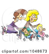 Cartoon Mothers Running With Strollers