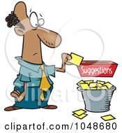 Royalty Free RF Clip Art Illustration Of A Cartoon Businessman Reading Suggestions