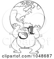 Royalty Free RF Clip Art Illustration Of A Cartoon Black And White Outline Design Of A Sumo Wrestler Lifting The Globe