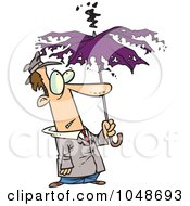 Cartoon Man Under A Struck Umbrella