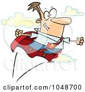 Royalty Free RF Clip Art Illustration Of A Cartoon Super Businessman