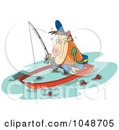 Royalty Free RF Clip Art Illustration Of A Cartoon Drunk Man Fishing In A Sinking Boat by toonaday