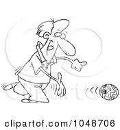 Royalty Free RF Clip Art Illustration Of A Cartoon Black And White Outline Design Of A Bowler Releasing A Ball by toonaday
