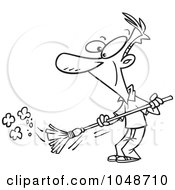Cartoon Black And White Outline Design Of A Man Sweeping
