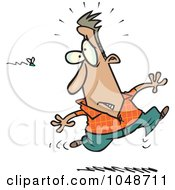 Royalty Free RF Clip Art Illustration Of A Cartoon Man Running From A Swarm Of Bees