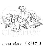 Royalty Free RF Clip Art Illustration Of A Cartoon Black And White Outline Design Of Yard Flamingos Surrounding A Man by toonaday