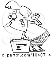Royalty Free RF Clip Art Illustration Of A Cartoon Black And White Outline Design Of A Woman Reaching In A Surprise Box by toonaday