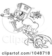 Royalty Free RF Clip Art Illustration Of A Cartoon Black And White Outline Design Of A Super Woman Flying