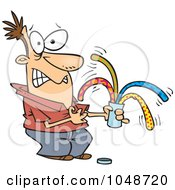 Royalty Free RF Clip Art Illustration Of A Cartoon Man Opening A Surprise Can Of Worms by toonaday
