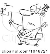 Cartoon Black And White Outline Design Of A Beat Up Man Surrendering