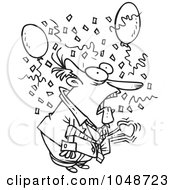 Royalty Free RF Clip Art Illustration Of A Cartoon Black And White Outline Design Of A Surprised Businessman
