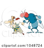 Royalty Free RF Clip Art Illustration Of A Cartoon Huge Fly Behind A Man Swatting Flies by Ron Leishman