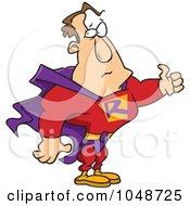 Royalty Free RF Clip Art Illustration Of A Cartoon Super Man Holding A Thumb Up