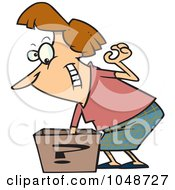 Royalty Free RF Clip Art Illustration Of A Cartoon Woman Reaching In A Surprise Box by toonaday