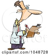 Royalty Free RF Clip Art Illustration Of A Cartoon Supervisor Filling Out A Survey