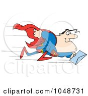 Royalty Free RF Clip Art Illustration Of A Cartoon Super Man Rushing A Letter by toonaday