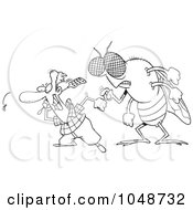 Royalty Free RF Clip Art Illustration Of A Cartoon Black And White Outline Design Of A Huge Fly Behind A Man Swatting Flies by Ron Leishman