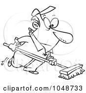 Cartoon Black And White Outline Design Of A Man Using A Push Broom